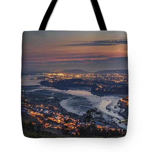 Ferrol's Ria Panorama From Mount Ancos Galicia Spain Tote Bag by Pablo Avanzini