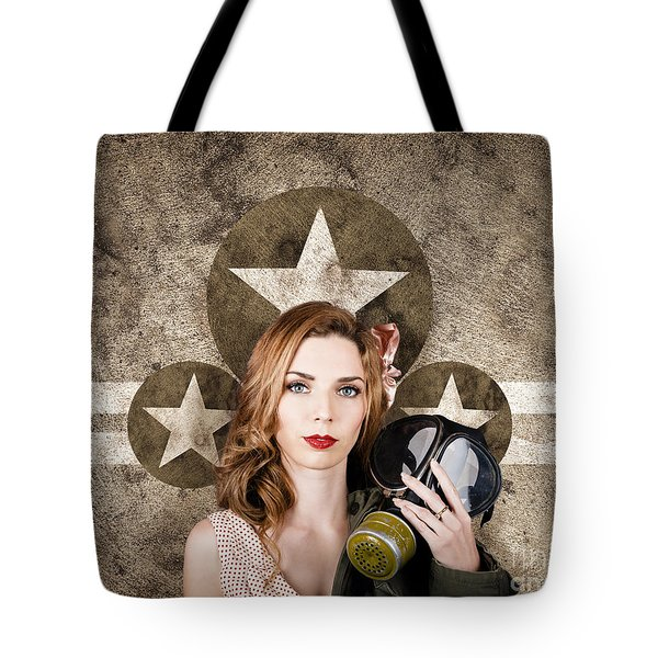 Fifties Army Pin Up Woman. Remembrance Day Tote Bag