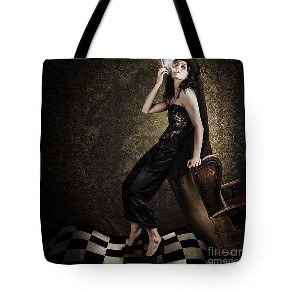 Fine Art Grunge Fashion Portrait In Dark Interior Tote Bag