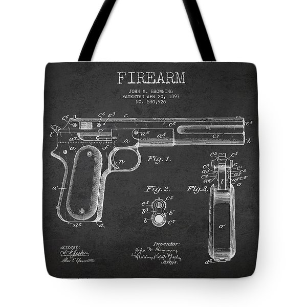Firearm Patent Drawing From 1897 - Dark Tote Bag