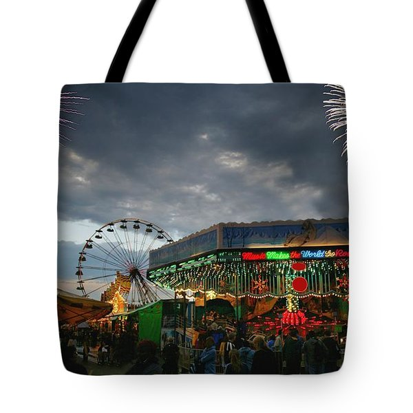 Fireworks At An Amusement Park Tote Bag by Darren Greenwood