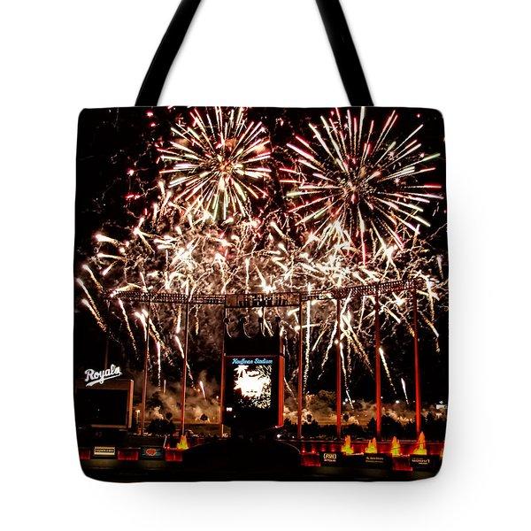 Fireworks At Kauffman Stadium Tote Bag by Alan Hutchins