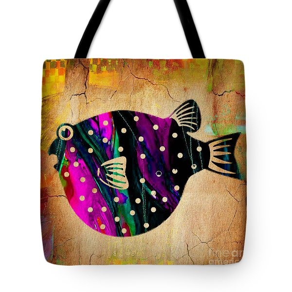 Fish Plaque Tote Bag by Marvin Blaine