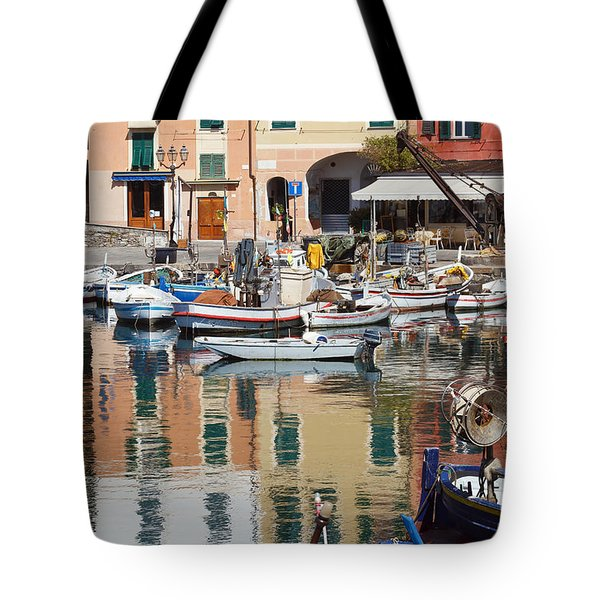 Tote Bag featuring the photograph fishing boats in Camogli  by Antonio Scarpi
