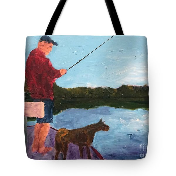 Tote Bag featuring the painting Fishing by Donald J Ryker III