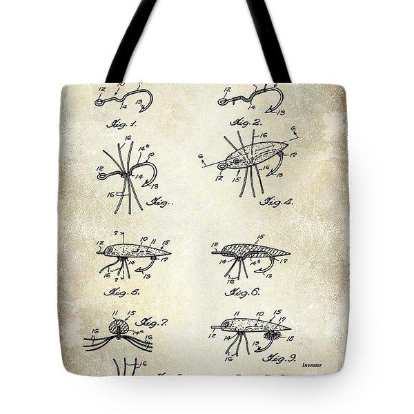 Fishing Lure Patent  Tote Bag by Jon Neidert