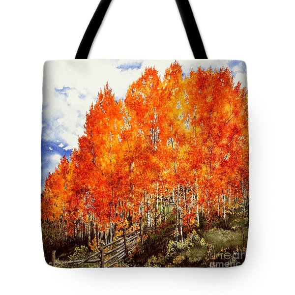 Tote Bag featuring the painting Flaming Aspens 2 by Barbara Jewell