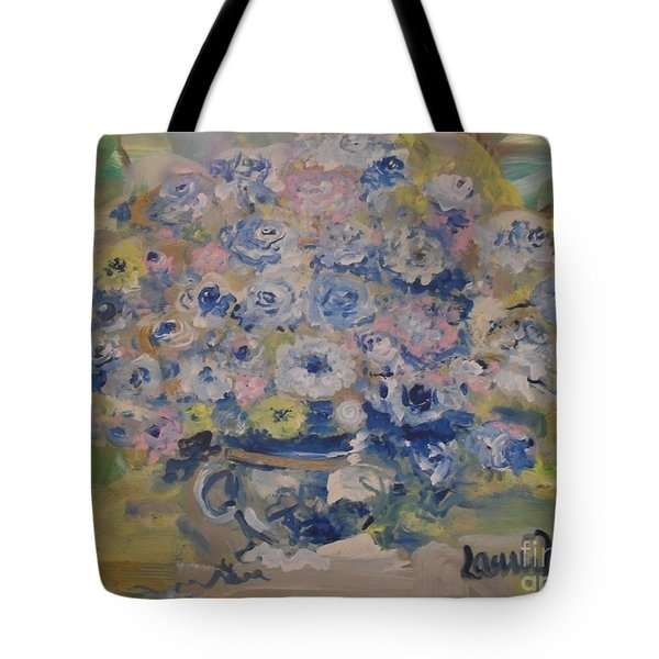 Tote Bag featuring the painting Flow Bleu by Laurie Lundquist