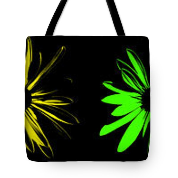 Tote Bag featuring the digital art Flowers On Black by Maggy Marsh