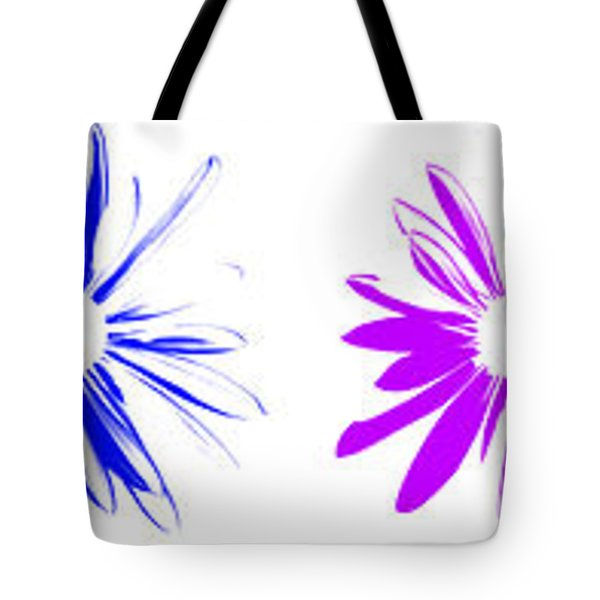 Tote Bag featuring the digital art Flowers On White by Maggy Marsh