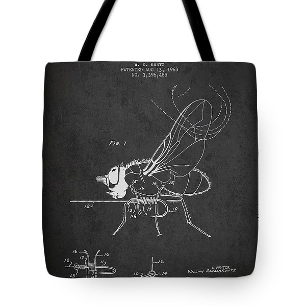 Fishing Fly Patent Drawing From 1968 - Dark Tote Bag