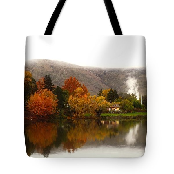 Tote Bag featuring the photograph Foggy Fall Morning 2 by Lynn Hopwood