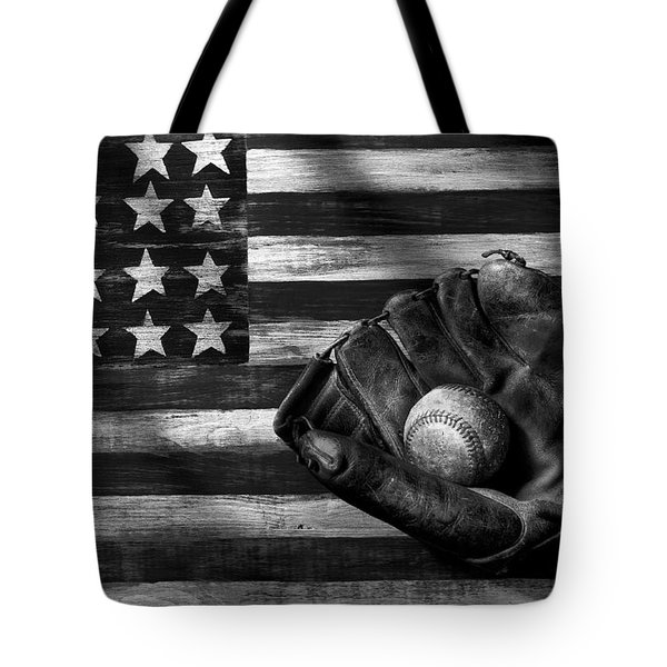 Folk Art American Flag And Baseball Mitt Black And White Tote Bag by Garry Gay