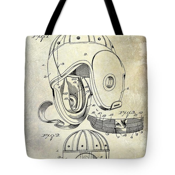 Football Helmet Patent Tote Bag by Jon Neidert