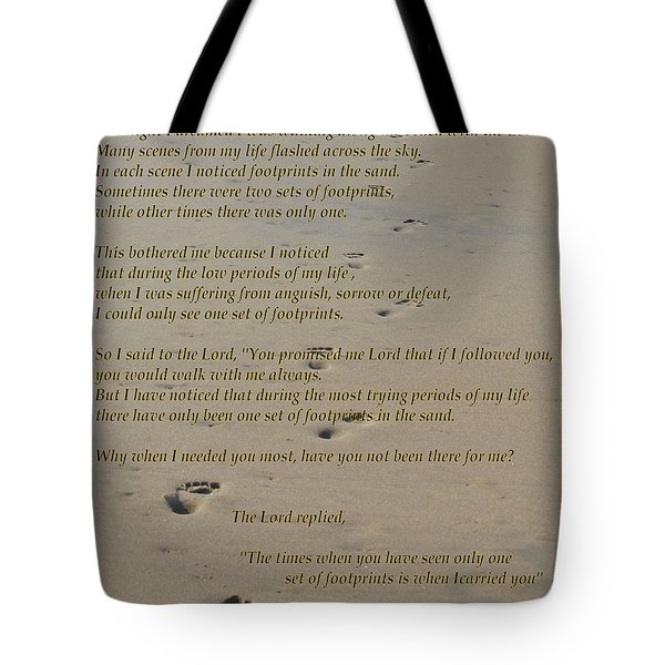 Footprints In The Sand Poem Tote Bag