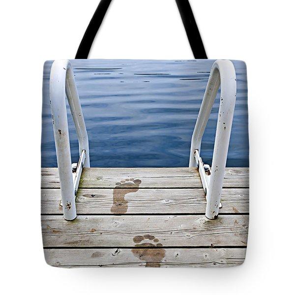 Footprints On Dock At Summer Lake Tote Bag