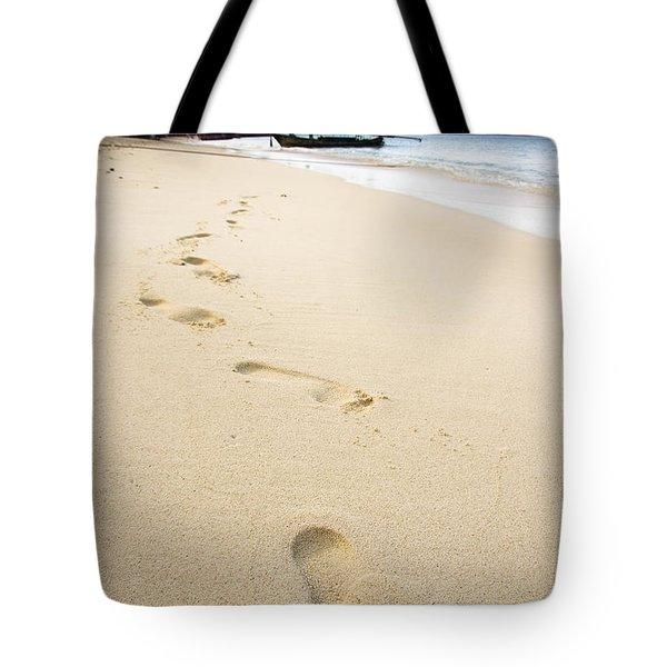 Footprints On Tropical Beach Tote Bag