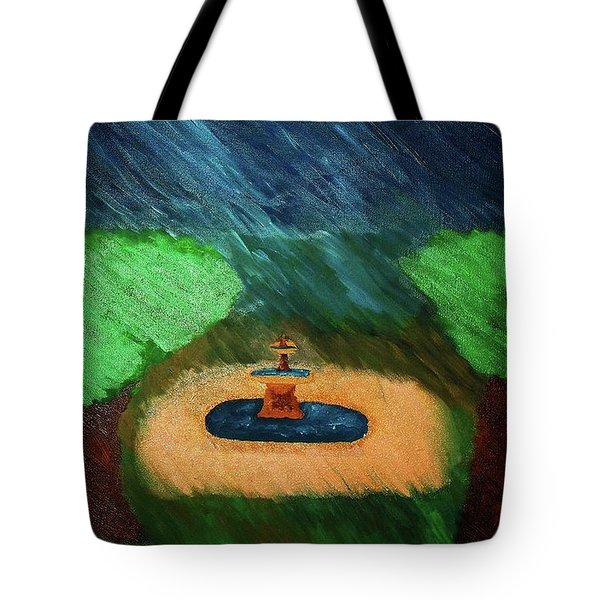 Fountain In The Midst Tote Bag by Bamhs Blair