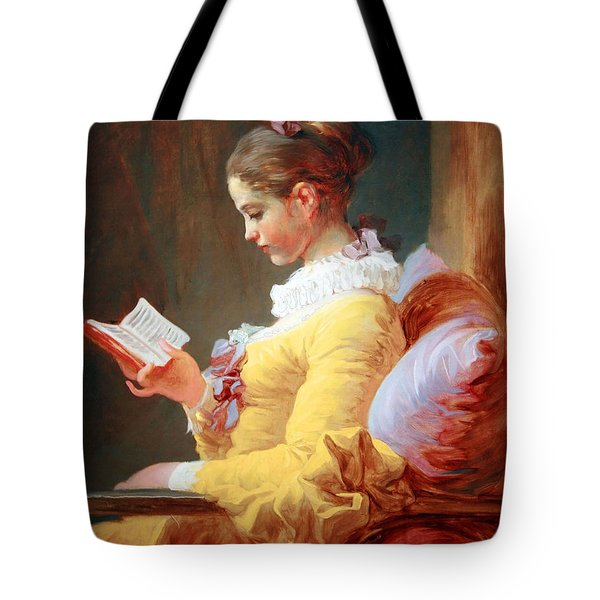 Tote Bag featuring the photograph Fragonard's Young Girl Reading by Cora Wandel