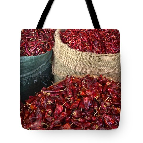 Tote Bag featuring the photograph Fresh Dried Chilli On Display For Sale Zay Cho Street Market 27th Street Mandalay Burma by Ralph A  Ledergerber-Photography