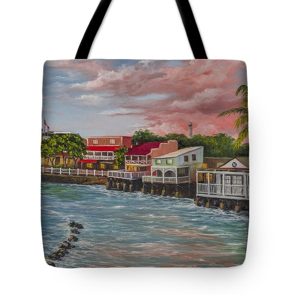 Front Street Lahaina At Sunset Tote Bag