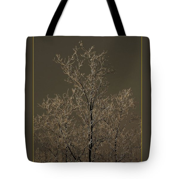 Frozen Tree On Winter Field Tote Bag