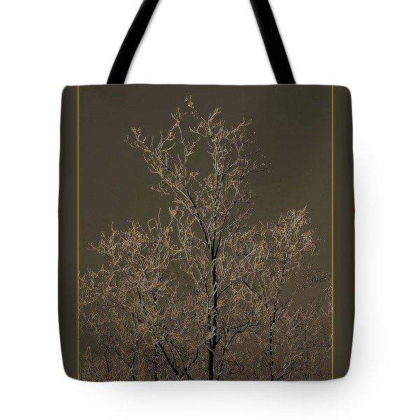 Frozen Tree On Winter Field Tote Bag by Odon Czintos