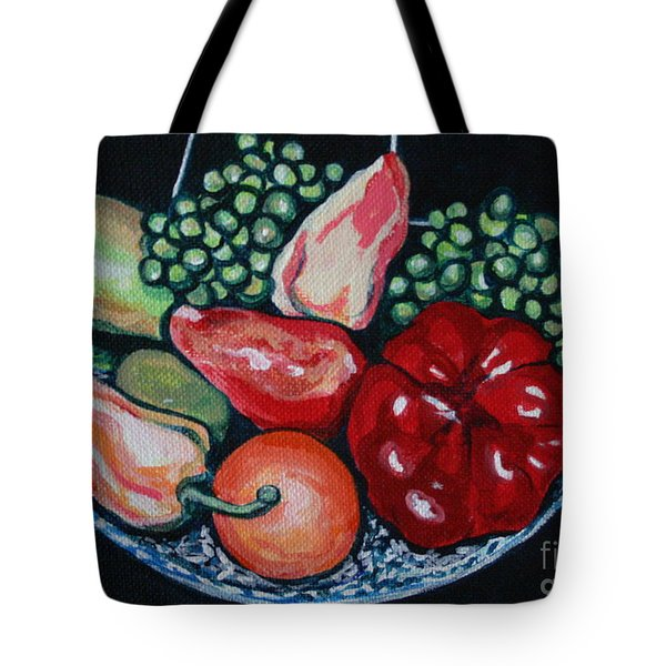 Fruit And Peppers Tote Bag by Joyce Gebauer