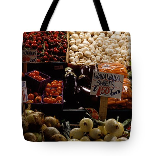 Fruits And Vegetables At A Market Tote Bag by Panoramic Images