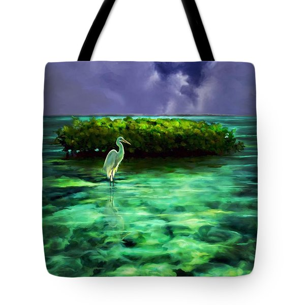 Tote Bag featuring the painting Full Moon Fishing by David  Van Hulst