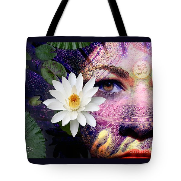 Tote Bag featuring the digital art Full Moon Lakshmi by Christopher Beikmann