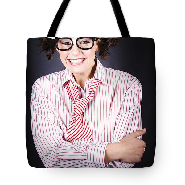 Funny Female Business Nerd With Big Geeky Smile Tote Bag