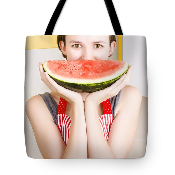 Funny Woman With Juicy Fruit Smile Tote Bag by Jorgo Photography - Wall Art Gallery