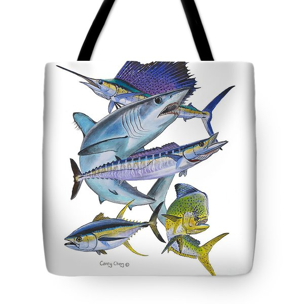 Gamefish Collage Tote Bag by Carey Chen