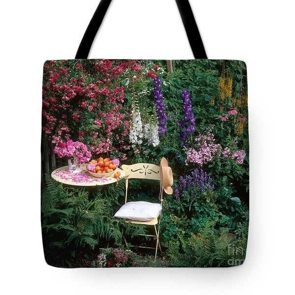 Garden With Chair Tote Bag by Hans Reinhard