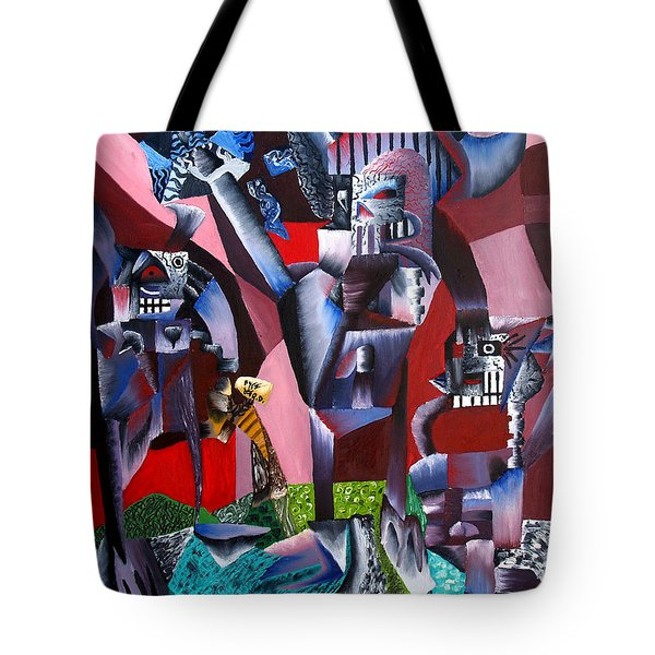 Tote Bag featuring the painting Gaungian Dimensional by Ryan Demaree