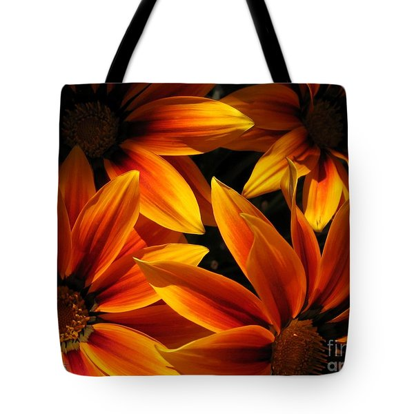 Tote Bag featuring the photograph Gazania Named Kiss Orange Flame by J McCombie