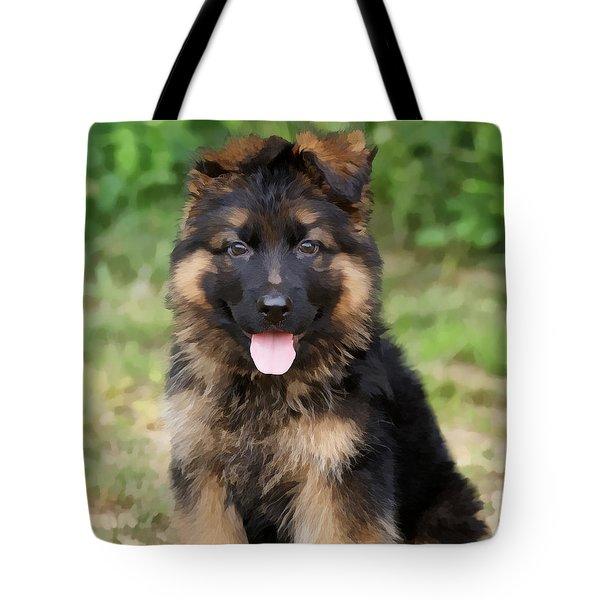 German Shepherd Puppy Tote Bag by Sandy Keeton