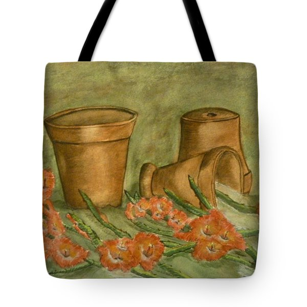 Tote Bag featuring the painting Gladiolus Spill by Kelly Mills