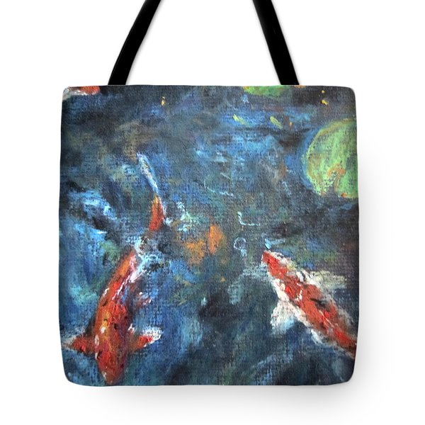Tote Bag featuring the painting Golden Fish by Jieming Wang