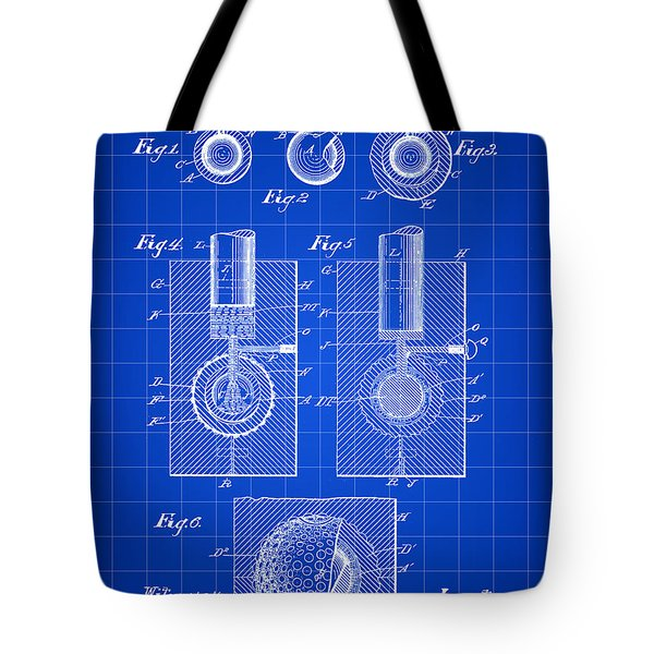 Golf Ball Patent 1902 - Blue Tote Bag