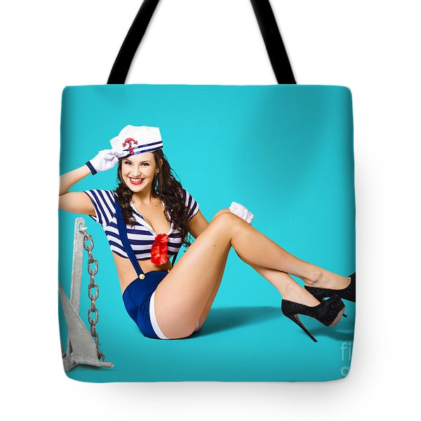 Gorgeous Pin Up Sailor Girl Wearing Hat Tote Bag