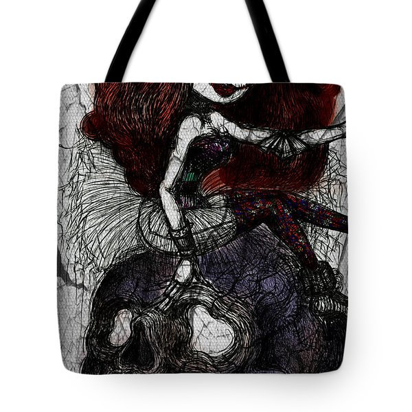 Gothic Girl And Skull Tote Bag