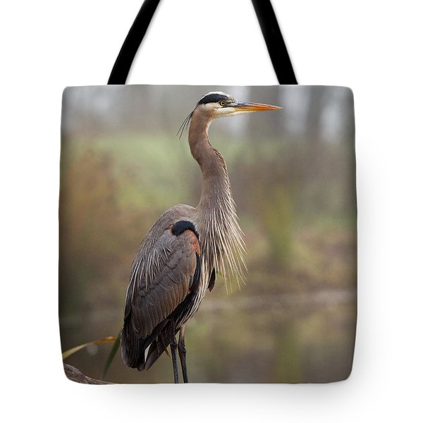Great Blue Heron Tote Bag by Doug Herr