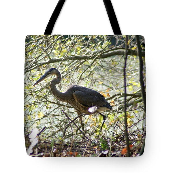 Tote Bag featuring the photograph Great Blue Heron In Bushes by Karen Silvestri