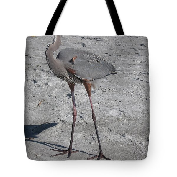 Great Blue Heron On The Beach Tote Bag by Christiane Schulze Art And Photography