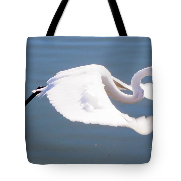 Great Egret In Flight Tote Bag by Thomas Marchessault