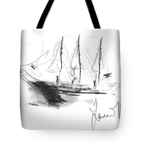 Tote Bag featuring the drawing Great Men Sailing by Laurie Lundquist