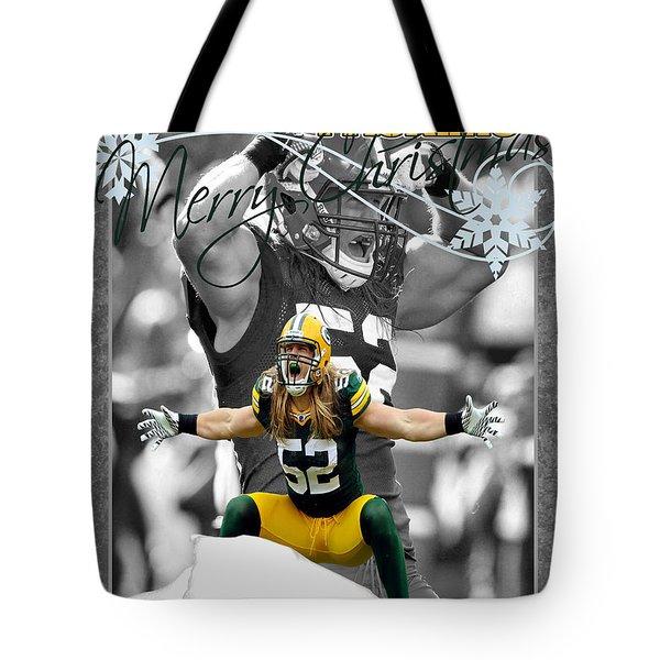 Green Bay Packers Christmas Card Tote Bag