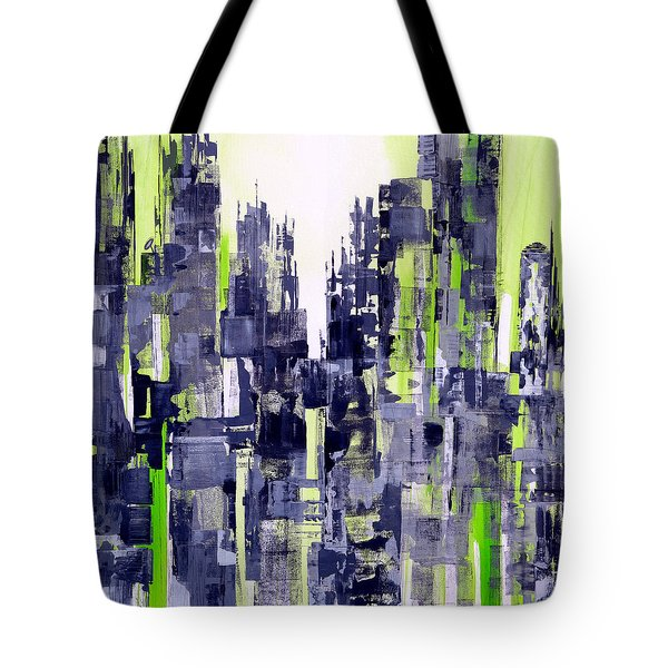 Tote Bag featuring the painting Green City by Katie Black